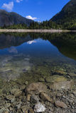 Antrona lake: landscape with reflections on water Stock Image