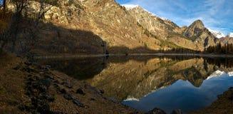 Antrona Lake Piedmont - Italy. Autumn reflections in Antrona Lake - Piedmont, Italy royalty free stock photo