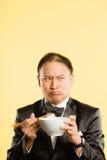 Fundo alto do amarelo da definição dos povos reais engraçados do retrato do homem Imagem de Stock Royalty Free