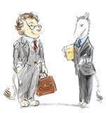 Antropomorfe leeuw en eenhoorn gekleed in pakkenbeeldverhaal royalty-vrije illustratie