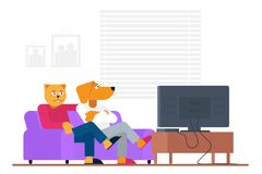 Antropomorphic people style funny cat and dog buddy sitting on sofa and watching movie on TV at home vector illustration.  royalty free illustration
