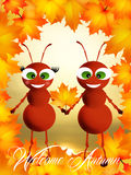 Ants in autumn Royalty Free Stock Photo