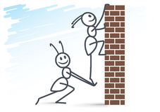 2 ants and brick wall Royalty Free Stock Image