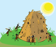Ants building the anthill. A family of ants building the anthill in the grass royalty free illustration