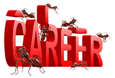 Ants building career jobs planning job search. Ants building red 3d word career isolated on white background job search or job planning employment success and vector illustration