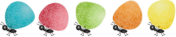 Ants carrying gumdrops Stock Image