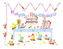 Ants celebrate birthday,vector, background. Ants celebrate birthday,vector, birthday background Royalty Free Stock Image