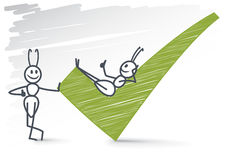 2 ants and a checkmark. 2 ant giving thumbs up and a checkmark stock illustration