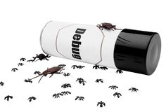 Ants and cockroaches near insect repellent Royalty Free Stock Photo