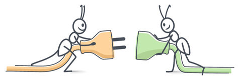 Ants connect. Two plugs together stock illustration