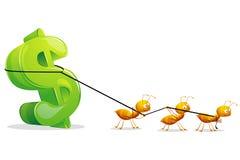 Ants dragging Dollar Stock Photos