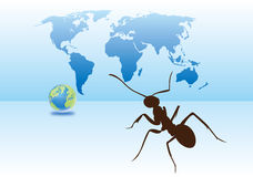 Ants and earth. Describe the illustrations Stock Photos