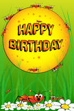 Ants, flowers and grass - Birthday card Royalty Free Stock Photos