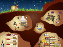 Ants. Funny illustration of ants house Stock Images