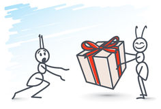 Ants and gift box Royalty Free Stock Photos