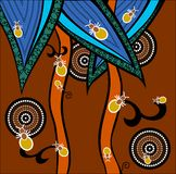 Ants. A illustration based on aboriginal style of dot painting depicting ants Royalty Free Stock Images