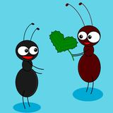 Ants in love. An illustration of two ants Stock Illustration