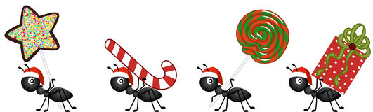 Ants on the march to deliver Christmas candy gifts. Scalable vectorial image representing a ants on the march to deliver Christmas candy gifts, isolated on white Royalty Free Stock Photos