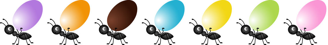 Ants on the march to deliver easter eggs. Scalable vectorial image representing a ants on the march to deliver easter eggs, isolated on white Royalty Free Stock Photos