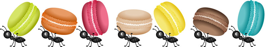 Ants on the march to deliver macaroons. Scalable vectorial image representing a ants on the march to deliver macaroons,  on white Stock Photo