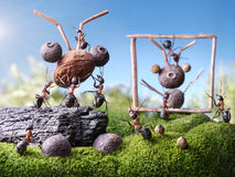 Ants sculptors, ant tales. Ants sculptors and monument, ant tales Royalty Free Stock Photo