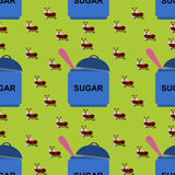 Ants and sugar seamless background design Royalty Free Stock Photos
