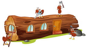 Ants and a wood house. Illustration of ants and a wood house on a white background Stock Images
