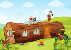 Ants and wooden house Stock Photo