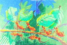 Ants working together. Ants drawing, ants drawing background Stock Photo
