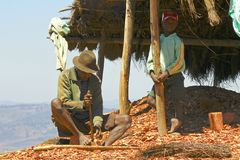 Hard working poor malagasy man - poverty Royalty Free Stock Images