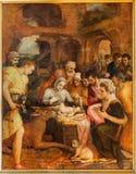Antuérpia - adoração dos pastores por Frans Floris do ano 1568 na catedral de nossa senhora Fotografia de Stock