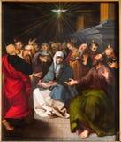 Antuérpia - pintura da cena do domingo de Pentecostes da catedral fotos de stock