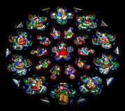 Antuérpia - roseta no windowpane da catedral de nossa senhora. imagens de stock royalty free