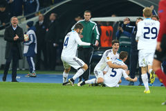 Antunes celebrates scored goal with his team partners while Serhiy Rebrov applauds on the background, UEFA Europa League Round of Royalty Free Stock Photography