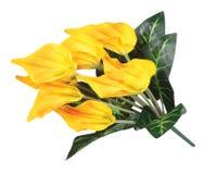 Anturium artificial amarillo Imagen de archivo libre de regalías