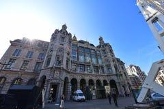 Antwerp Środkowa stacja kolejowa, działająca krajową kolejową firmą NMBS Zdjęcia Royalty Free
