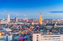 antwerp Бельгия Воздушный вид на город на ноче Стоковые Изображения RF