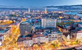 antwerp Бельгия Воздушный вид на город на ноче Стоковое Изображение