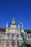 Antwerp. Town Hall and the Brabo Fountain in Antwerp, Belgium Royalty Free Stock Photo