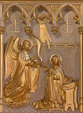Antwerp - Annunciation relief from 19. cent. in altar of Joriskerk or st. George church Royalty Free Stock Images
