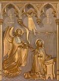 Antwerp - Annunciation relief from 19. cent. in altar of Joriskerk or st. George church. On September 5, 2013 in Antwerp, Belgium Royalty Free Stock Images