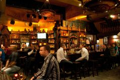 Antwerp - August 2010: Inside an Irish Pub on Groenplaats stock photo