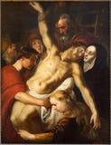 Antwerp - avlagring av korset av Adam van Noort från året 1610 i domkyrkan av vår dam Arkivbild