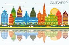 Antwerp Belgia miasta linia horyzontu z kolorów budynkami, niebieskie niebo i Royalty Ilustracja