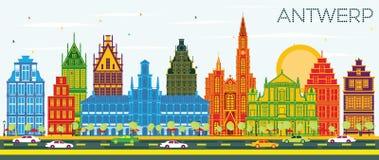 Antwerp Belgia miasta linia horyzontu z koloru niebieskim niebem i budynkami Royalty Ilustracja