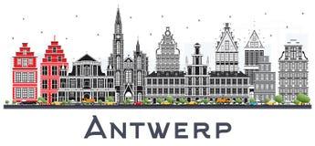 Antwerp Belgia miasta linia horyzontu z Szarymi budynkami Odizolowywającymi na Whi ilustracja wektor