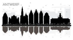Antwerp Belgia miasta linii horyzontu czarny i biały sylwetka z Ref Ilustracji