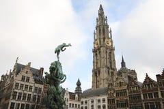 antwerp Belgien mitt Arkivfoto