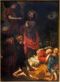 ANTWERP BELGIEN - SEPTEMBER 5, 2013: Jesus i den Gethsemane trädgården av David Teniers 1610 - 1690 i kyrkan Paulskerk för St Pau Royaltyfria Bilder