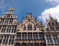 Antwerp Belgium. Beautiful old facades in the main square of Antwerp in Belgium Stock Photography
